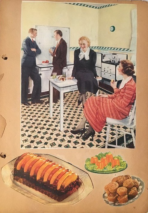 A page from my grandmother's scrapbook. A large colored painting of two couples mingling in a kitchen is the largest image but there are also pasted images of jellied salad and muffins.