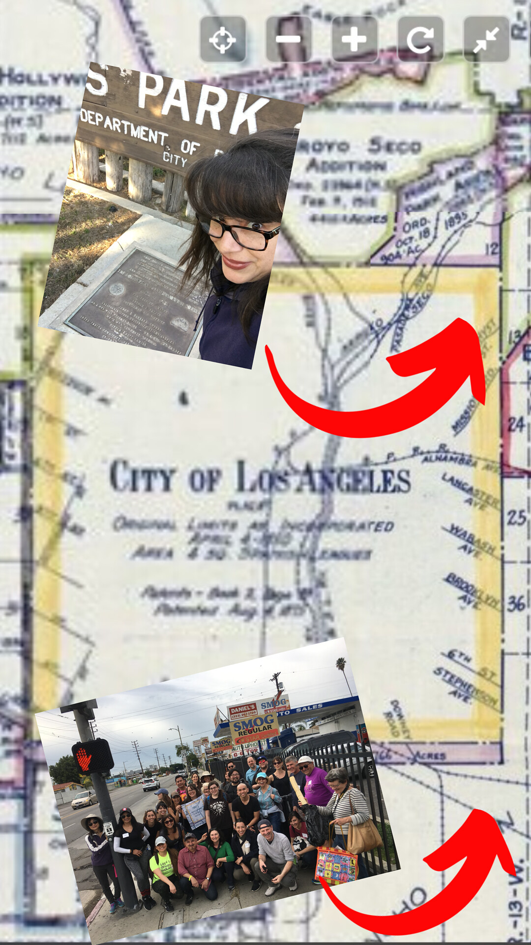 Map of Los Angeles with two photos of the walking tour that show the start and end of the 8-mile walk..