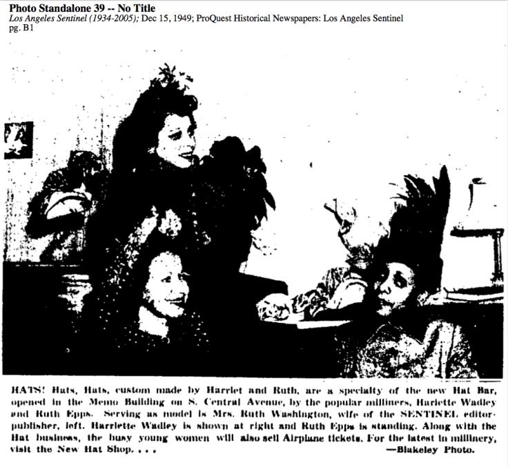 Newspaper article (1949) announcing Harriet Wadley's Hat Shop