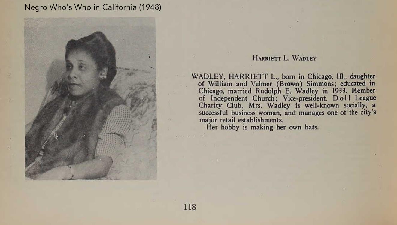 Harriet Wadley, millner